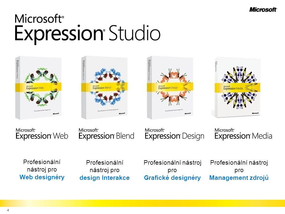 Rozšiřte své portfolio –Návrh UI elementů pro Windows aplikace –Ideální doplněk pro Expression Blend Produkt pro designery –Moderní UI speciálně navržené pro profesionální práci designerů –Výkonná vektorová grafika s nedestruktivními efekty Vize bez omezení –Vylepšený worklow díky XAML –Export visuálního návrhu do celé řady formátů, včetně XAML pro účely skinování