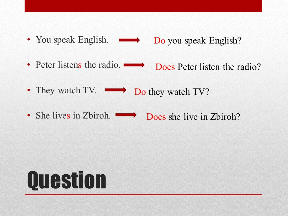 Question You speak English.Peter listens the radio.