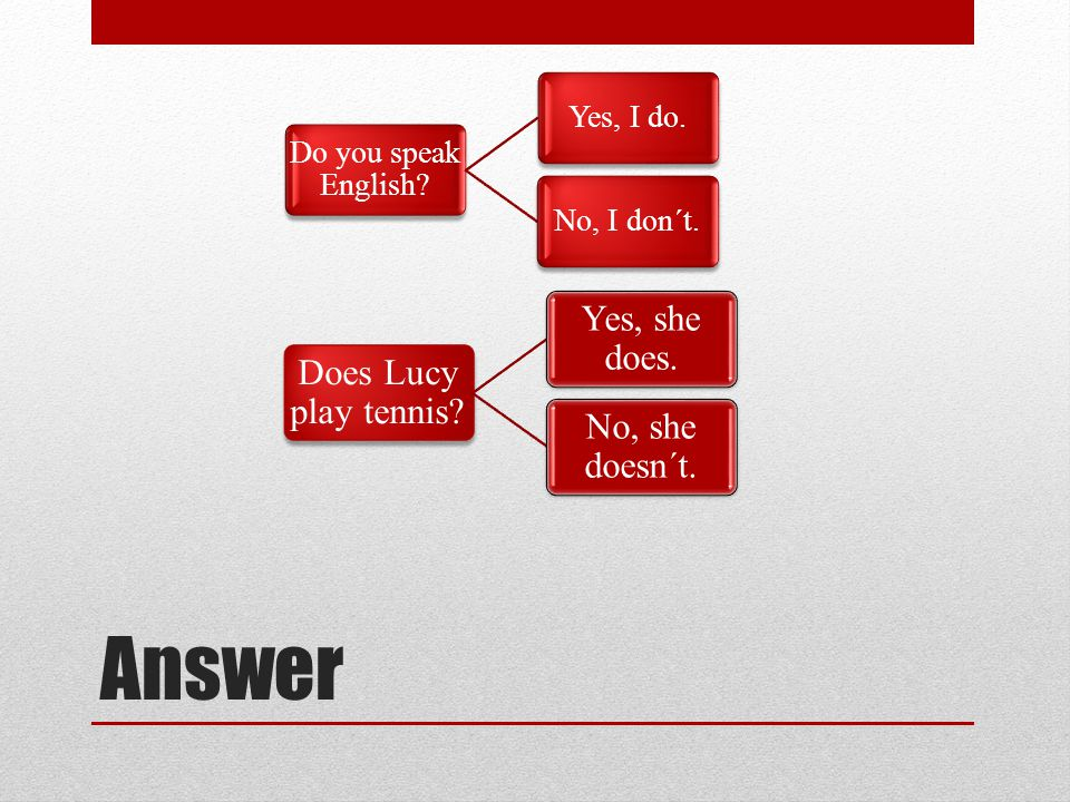 Answer Do you speak English? Yes, I do.No, I don´t. Does Lucy play tennis? Yes, she does. No, she doesn´t.