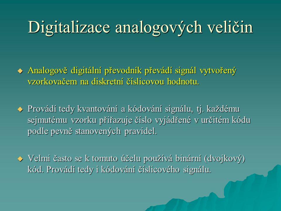 Digitalizace analogových veličin  Analogově digitální převodník převádí signál vytvořený vzorkovačem na diskretní číslicovou hodnotu.