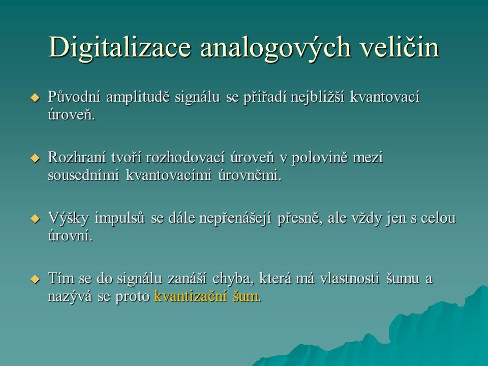 Digitalizace analogových veličin  Původní amplitudě signálu se přiřadí nejbližší kvantovací úroveň.