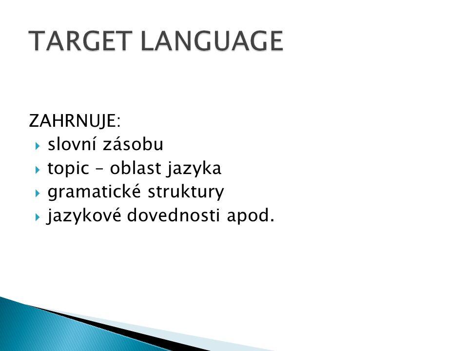 ZAHRNUJE:  slovní zásobu  topic – oblast jazyka  gramatické struktury  jazykové dovednosti apod.