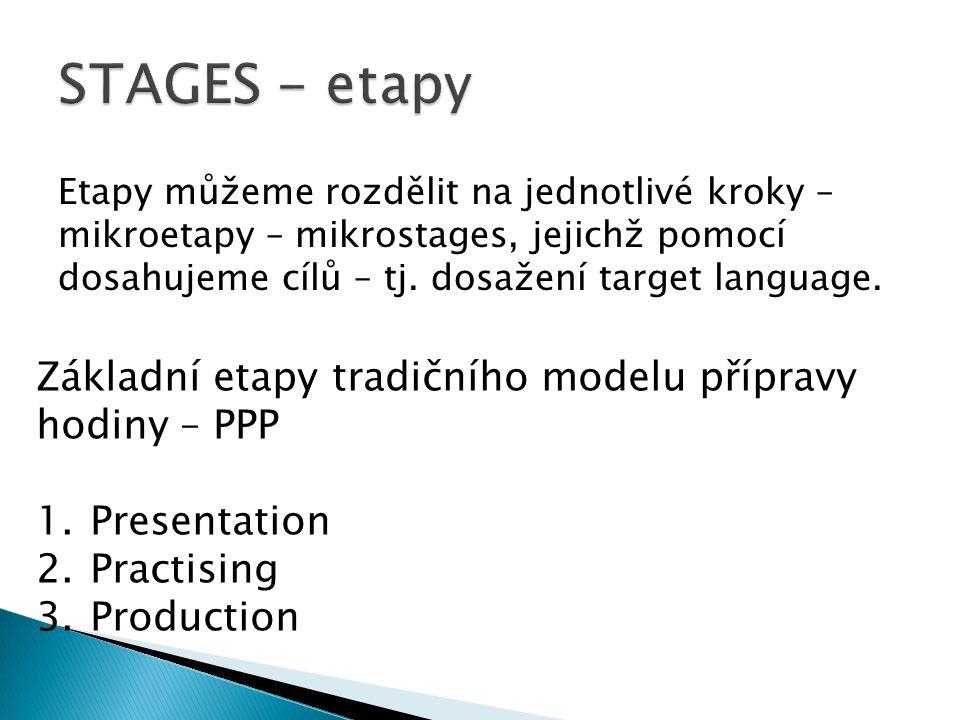 Etapy můžeme rozdělit na jednotlivé kroky – mikroetapy – mikrostages, jejichž pomocí dosahujeme cílů – tj.