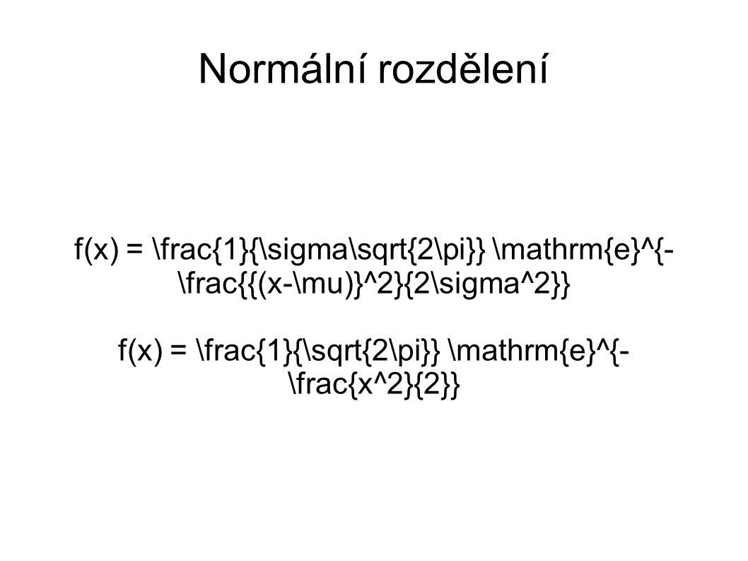 Normální rozdělení f(x) = \frac{1}{\sigma\sqrt{2\pi}} \mathrm{e}^{- \frac{{(x-\mu)}^2}{2\sigma^2}} f(x) = \frac{1}{\sqrt{2\pi}} \mathrm{e}^{- \frac{x^2}{2}}