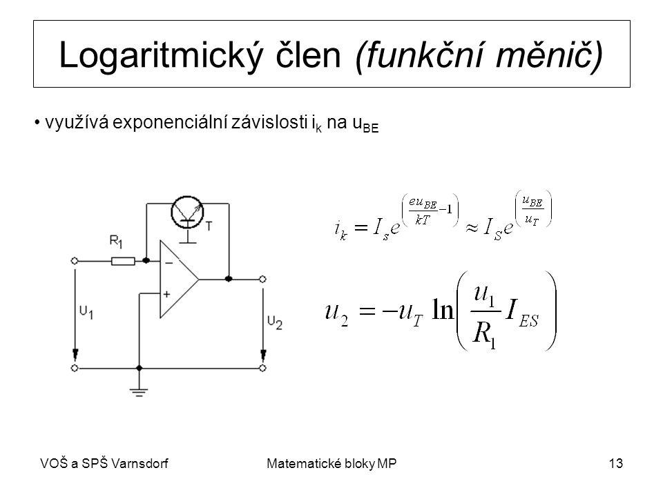 VOŠ a SPŠ VarnsdorfMatematické bloky MP13 Logaritmický člen (funkční měnič) využívá exponenciální závislosti i k na u BE