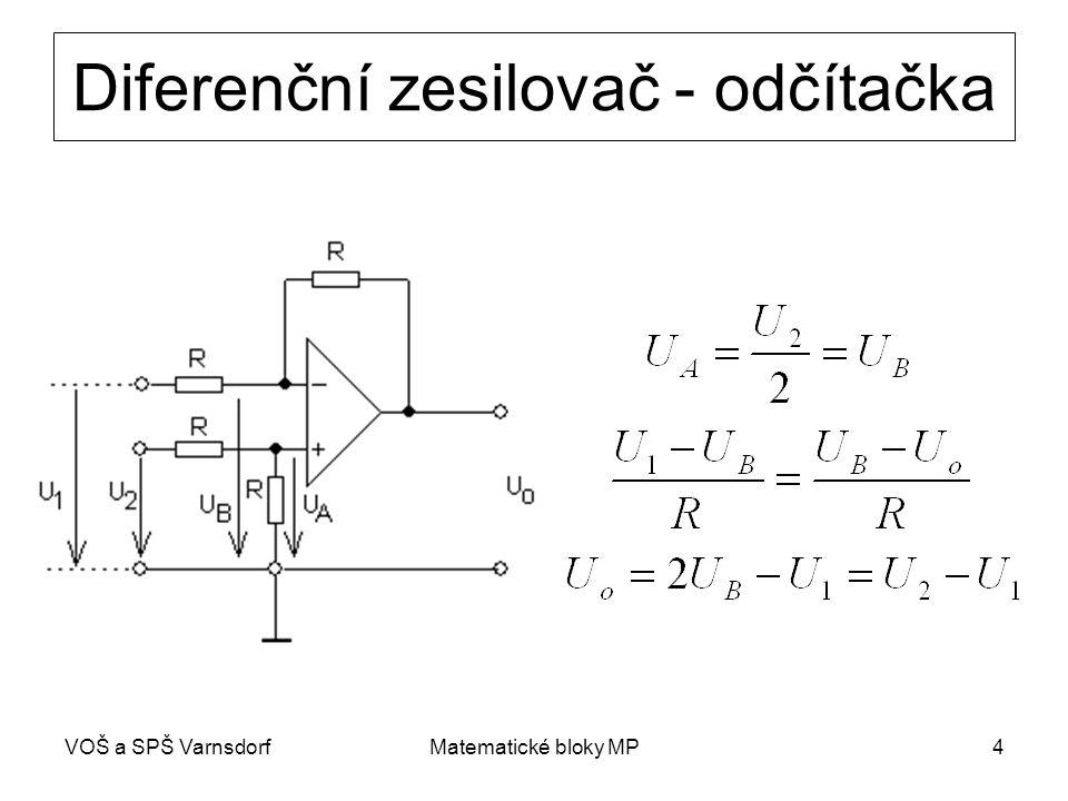 VOŠ a SPŠ VarnsdorfMatematické bloky MP15 Násobička s řízeným zesílením vstupní napětí zesilujeme obvodem, jehož zesílení je úměrné druhému vstupnímu napětí použité prvky s řízeným zesílením: bipolární tranzistory, FE tranzistory nebo magnetorezistory A=cU 2 U1U1 U o =AU 1 =cU 1 U 2 U2U2