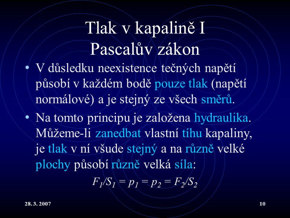 28. 3. 200710 Tlak v kapalině I Pascalův zákon V důsledku neexistence tečných napětí působí v každém bodě pouze tlak (napětí normálové) a je stejný ze