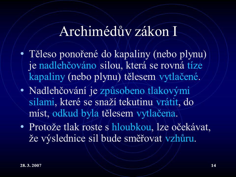 28. 3. 200714 Archimédův zákon I Těleso ponořené do kapaliny (nebo plynu) je nadlehčováno silou, která se rovná tíze kapaliny (nebo plynu) tělesem vyt