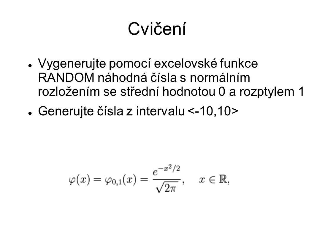 Cvičení Vygenerujte pomocí excelovské funkce RANDOM náhodná čísla s normálním rozložením se střední hodnotou 0 a rozptylem 1 Generujte čísla z interva