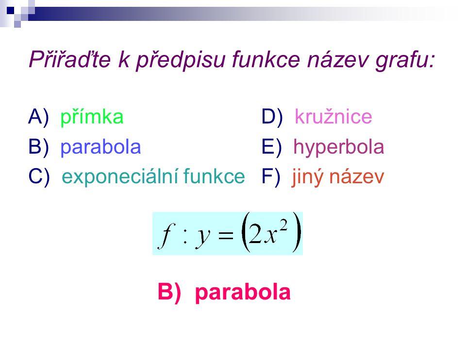 Přiřaďte k předpisu funkce název grafu: A) přímkaD) kružnice B) parabolaE) hyperbola C) exponeciální funkceF) jiný název B) parabola