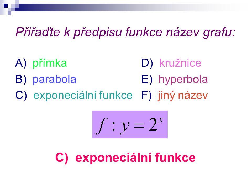 Přiřaďte k předpisu funkce název grafu: A) přímkaD) kružnice B) parabolaE) hyperbola C) exponeciální funkceF) jiný název C) exponeciální funkce
