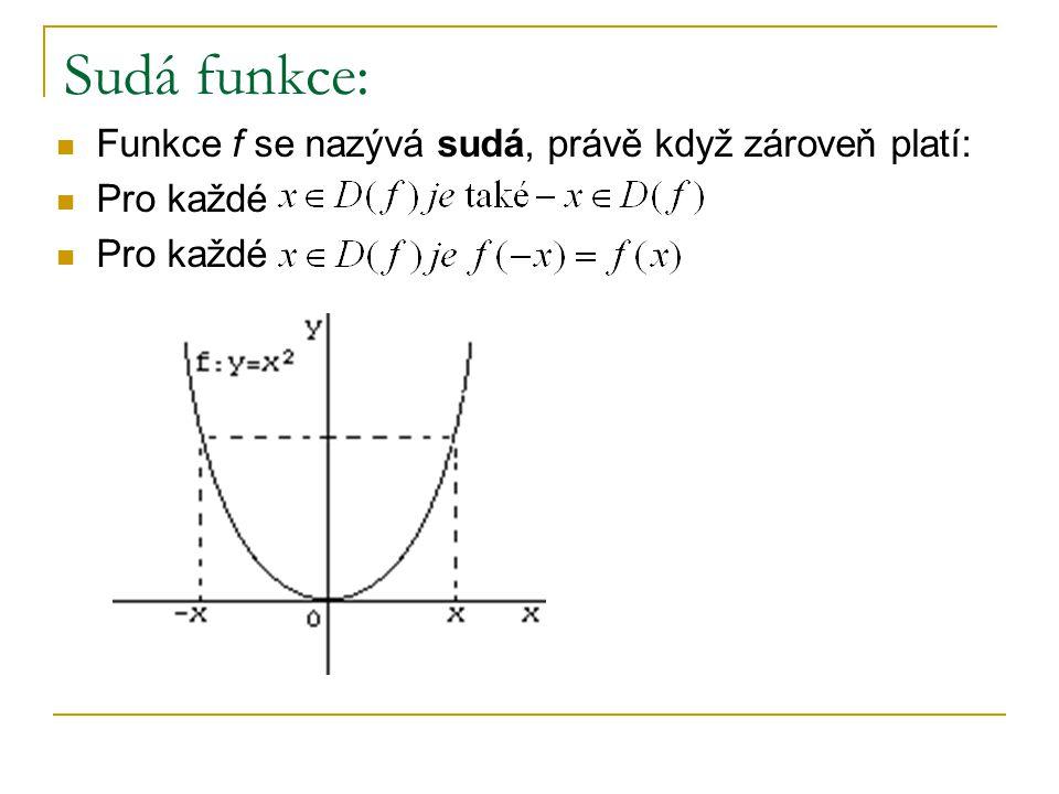 Sudá funkce: Funkce f se nazývá sudá, právě když zároveň platí: Pro každé