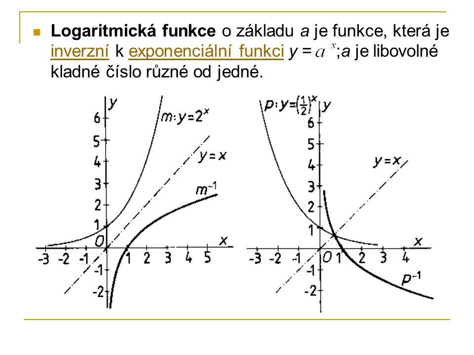 Logaritmická funkce o základu a je funkce, která je inverzní k exponenciální funkci y = ;a je libovolné kladné číslo různé od jedné. inverzníexponenci