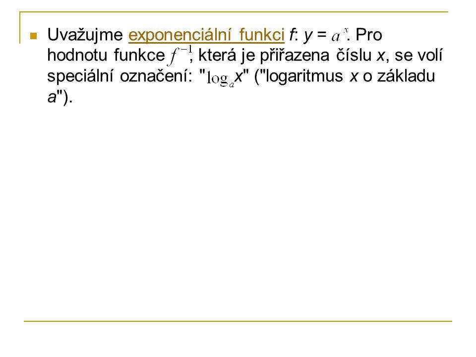 Uvažujme exponenciální funkci f: y =. Pro hodnotu funkce, která je přiřazena číslu x, se volí speciální označení: