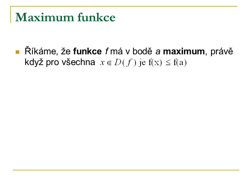 Maximum funkce Říkáme, že funkce f má v bodě a maximum, právě když pro všechna