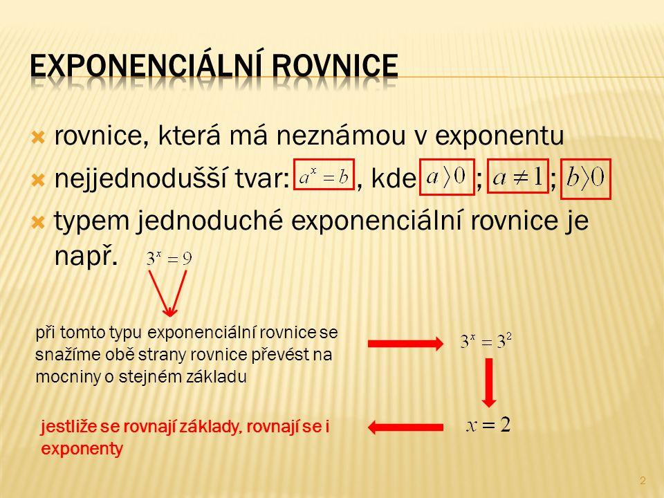  rovnice, která má neznámou v exponentu  nejjednodušší tvar:, kde ; ;  typem jednoduché exponenciální rovnice je např.