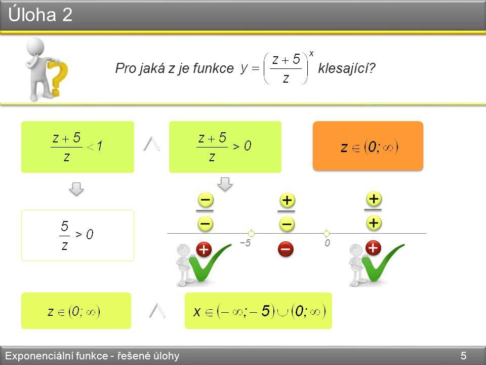Úloha 3 Exponenciální funkce - řešené úlohy 6 Nakreslete graf funkce. 0 y x 1 2 1 8 3 2 5