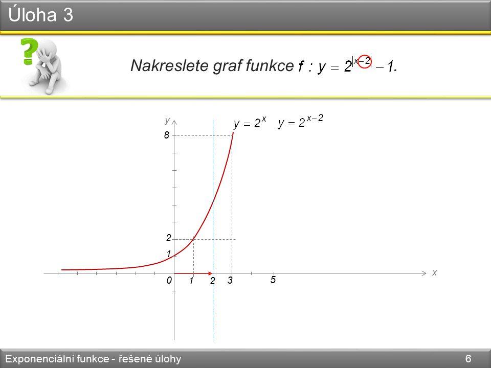 0 y x 1 2 1 8 3 2 5 Úloha 3 Exponenciální funkce - řešené úlohy 7 Nakreslete graf funkce. 4