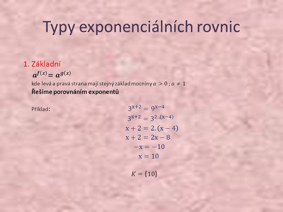 Typy exponenciálních rovnic