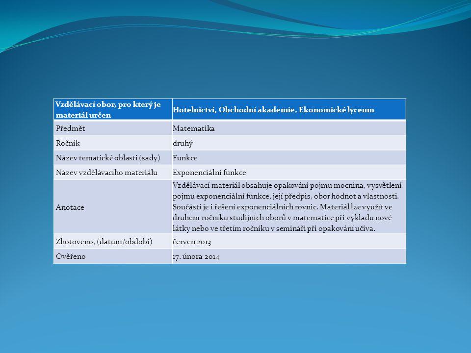 Vzdělávací obor, pro který je materiál určen Hotelnictví, Obchodní akademie, Ekonomické lyceum PředmětMatematika Ročníkdruhý Název tematické oblasti (