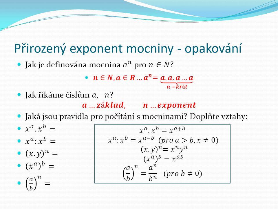 Přirozený exponent mocniny - opakování