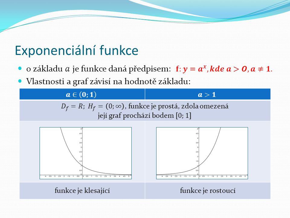 Exponenciální funkce funkce je klesajícífunkce je rostoucí