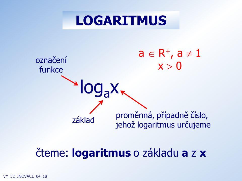 LOGARITMUS VY_32_INOVACE_04_18 log a x základ označení funkce proměnná, případně číslo, jehož logaritmus určujeme čteme: logaritmus o základu a z x a  R +, a  1 x  0