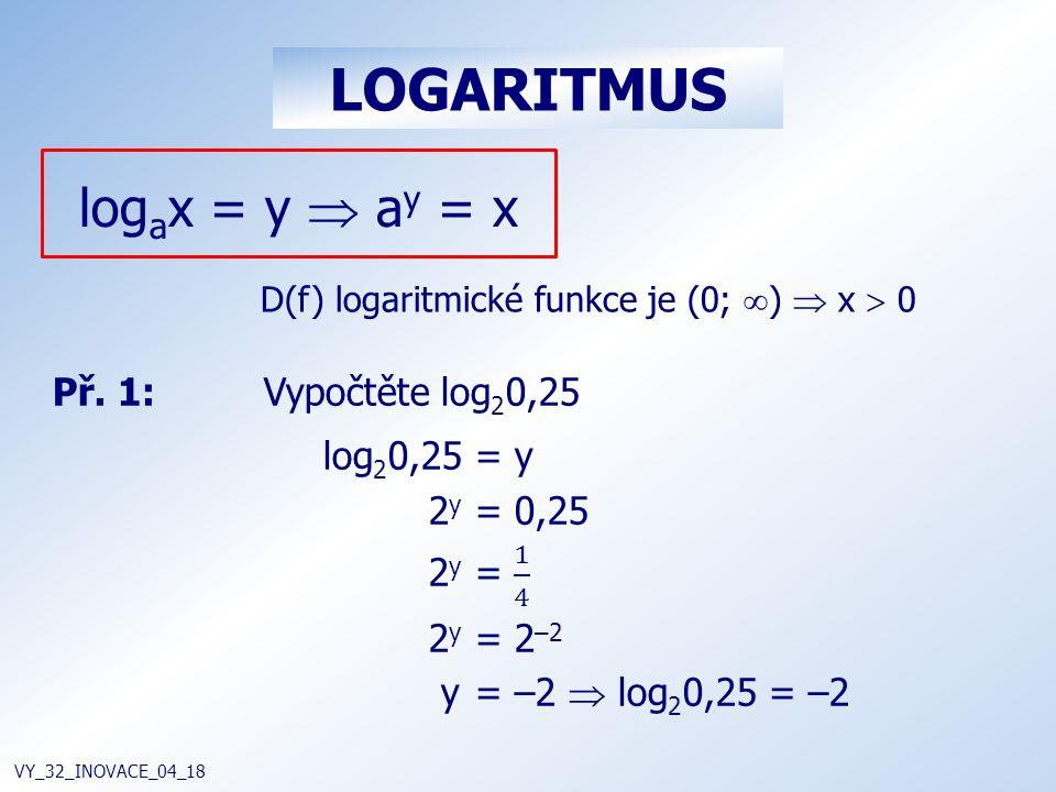 LOGARITMUS VY_32_INOVACE_04_18 log a x = y  a y = x D(f) logaritmické funkce je (0;  )  x  0