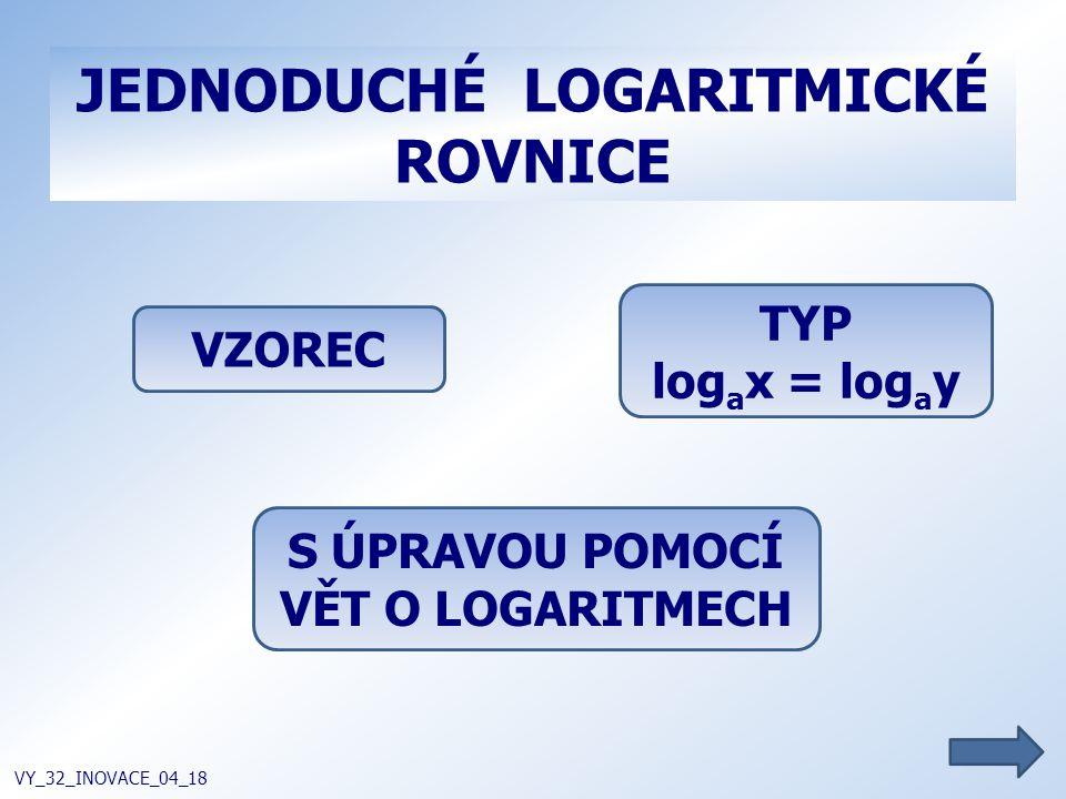 JEDNODUCHÉ LOGARITMICKÉ ROVNICE VY_32_INOVACE_04_18 VZOREC S ÚPRAVOU POMOCÍ VĚT O LOGARITMECH TYP log a x = log a y