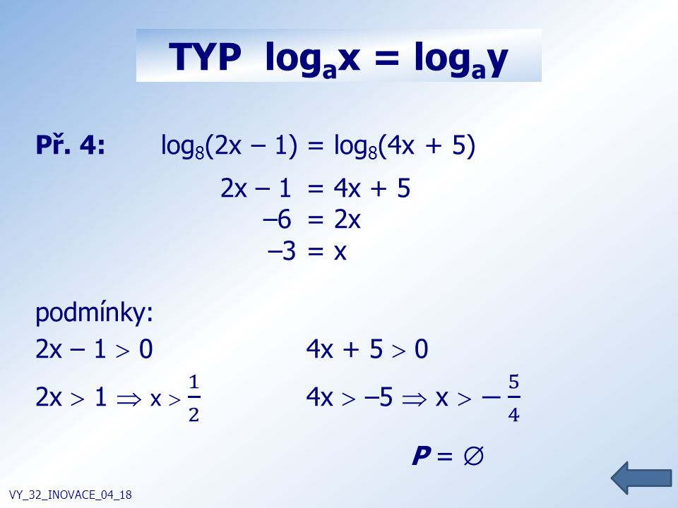 TYP log a x = log a y VY_32_INOVACE_04_18 P = 