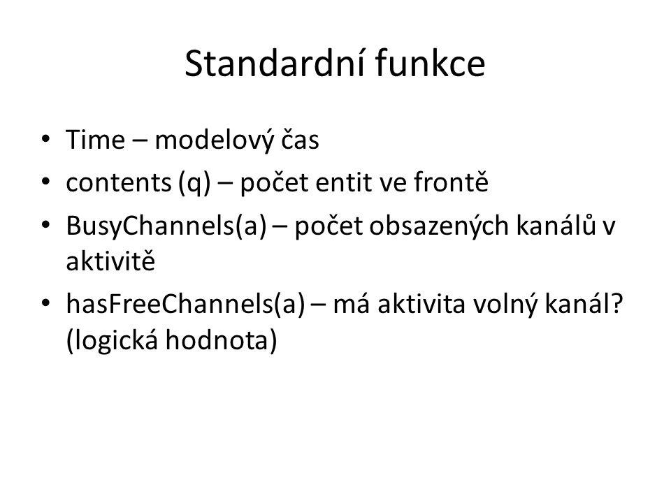 Standardní funkce Time – modelový čas contents (q) – počet entit ve frontě BusyChannels(a) – počet obsazených kanálů v aktivitě hasFreeChannels(a) – má aktivita volný kanál.