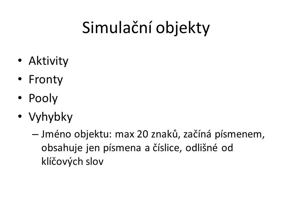 Simulační objekty Aktivity Fronty Pooly Vyhybky – Jméno objektu: max 20 znaků, začíná písmenem, obsahuje jen písmena a číslice, odlišné od klíčových slov