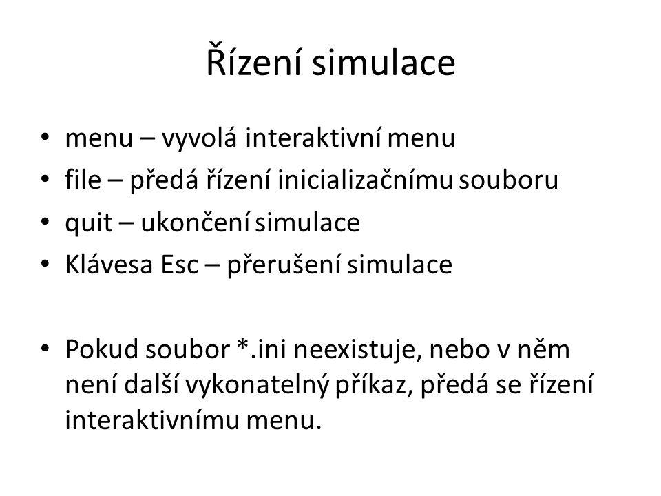 Řízení simulace menu – vyvolá interaktivní menu file – předá řízení inicializačnímu souboru quit – ukončení simulace Klávesa Esc – přerušení simulace Pokud soubor *.ini neexistuje, nebo v něm není další vykonatelný příkaz, předá se řízení interaktivnímu menu.