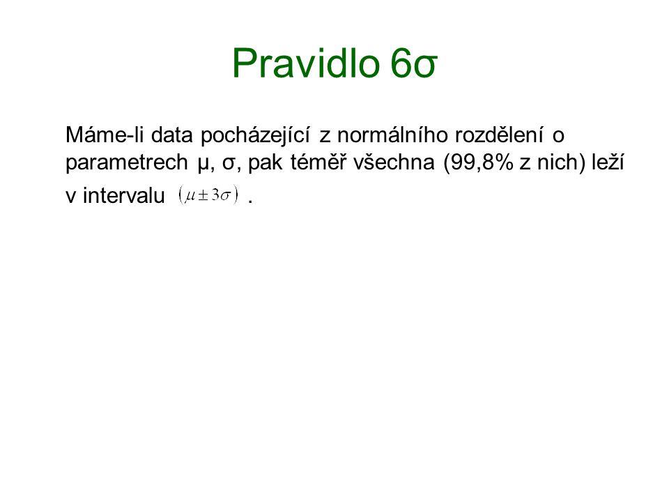 Pravidlo 6σ Máme-li data pocházející z normálního rozdělení o parametrech μ, σ, pak téměř všechna (99,8% z nich) leží v intervalu.