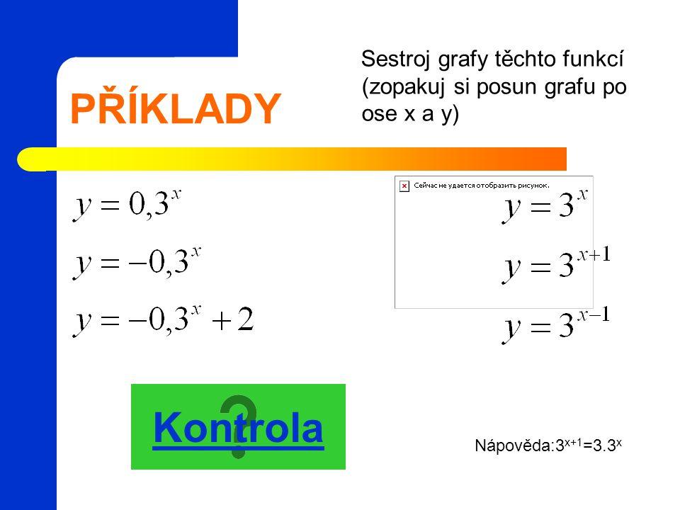 PŘÍKLADY Sestroj grafy těchto funkcí (zopakuj si posun grafu po ose x a y) Kontrola Nápověda:3 x+1 =3.3 x