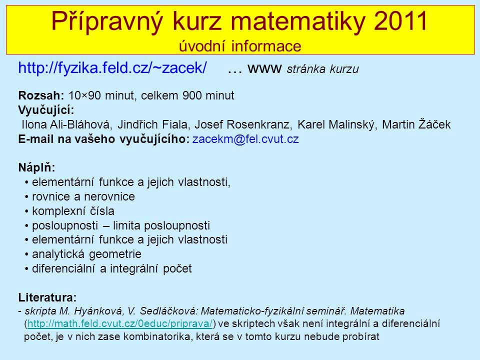 MF seminář 2010/2011 - úvod Rozsah: 10×90 minut, celkem 900 minut Vyučující: Ilona Ali-Bláhová, Jindřich Fiala, Josef Rosenkranz, Karel Malinský, Mart