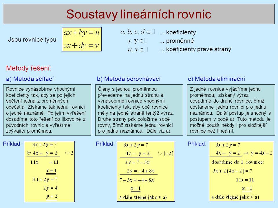 Jsou rovnice typu Soustavy lineárních rovnic... koeficienty... proměnné... koeficienty pravé strany a) Metoda sčítací b) Metoda porovnávací c) Metoda
