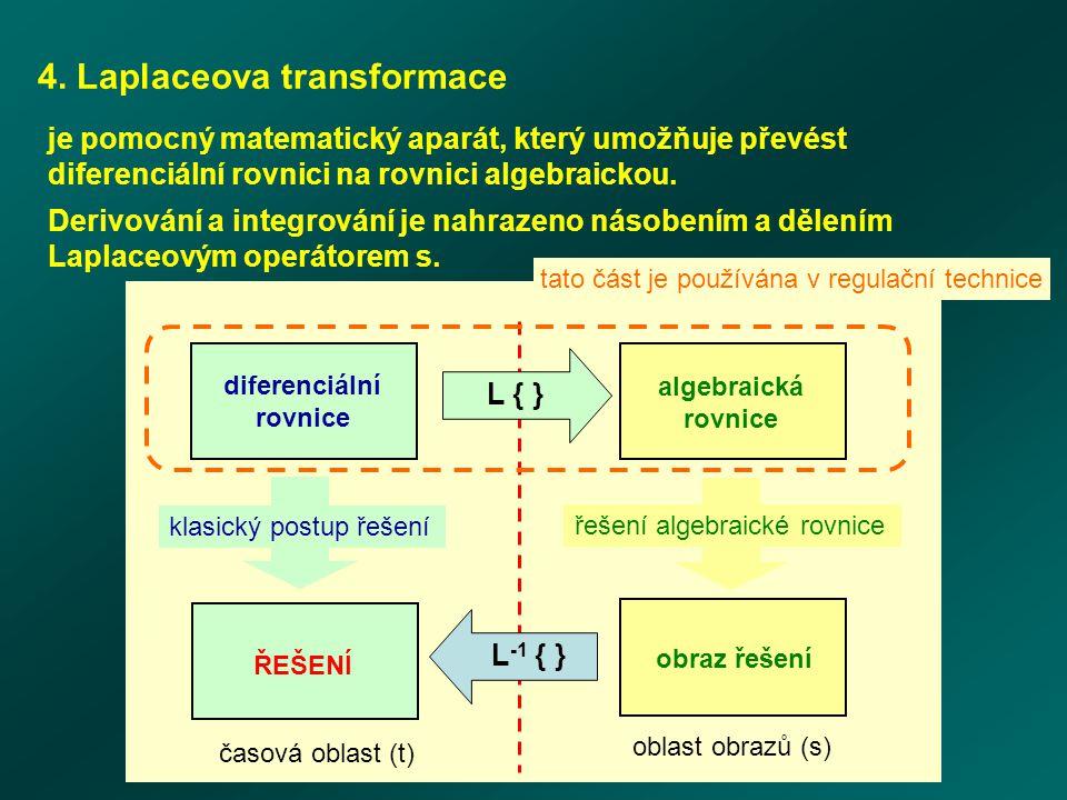 4. Laplaceova transformace je pomocný matematický aparát, který umožňuje převést diferenciální rovnici na rovnici algebraickou. Derivování a integrová