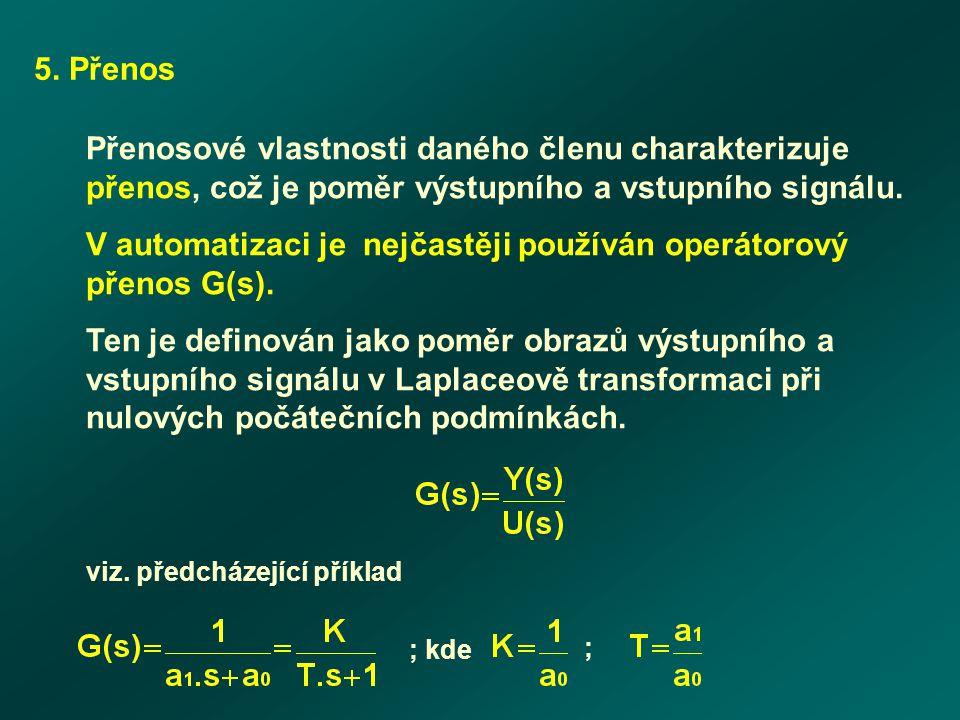 5. Přenos Přenosové vlastnosti daného členu charakterizuje přenos, což je poměr výstupního a vstupního signálu. V automatizaci je nejčastěji používán