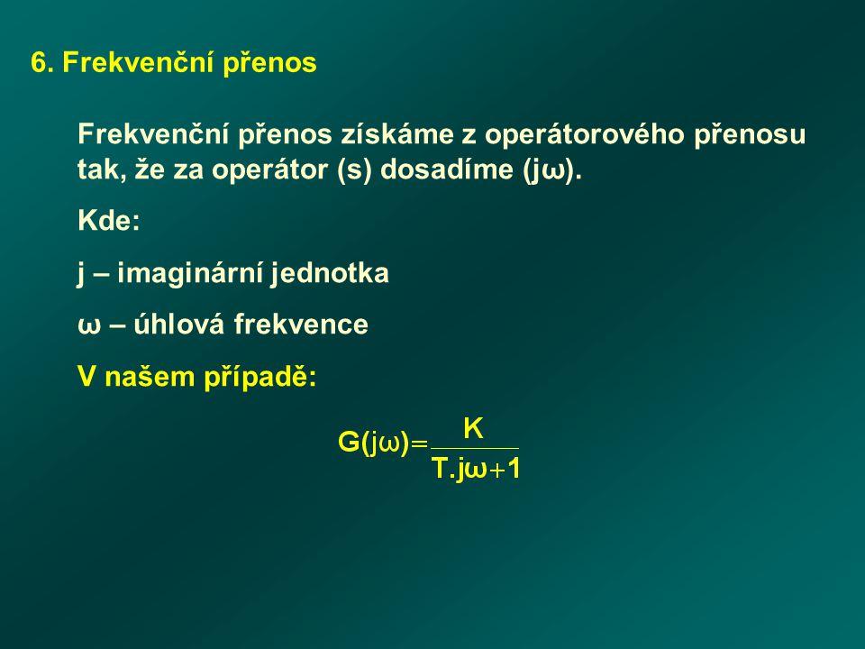 6. Frekvenční přenos Frekvenční přenos získáme z operátorového přenosu tak, že za operátor (s) dosadíme (jω). Kde: j – imaginární jednotka ω – úhlová