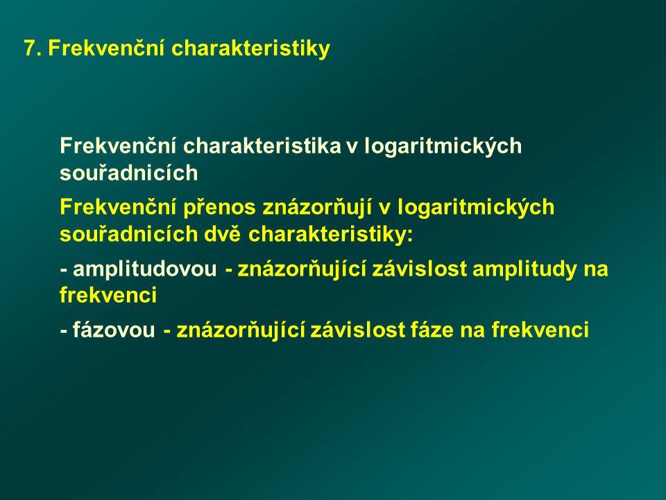 7. Frekvenční charakteristiky Frekvenční charakteristika v logaritmických souřadnicích Frekvenční přenos znázorňují v logaritmických souřadnicích dvě