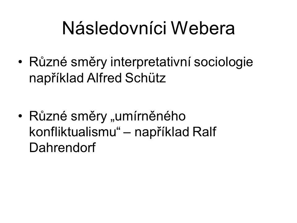 """Následovníci Webera Různé směry interpretativní sociologie například Alfred Schütz Různé směry """"umírněného konfliktualismu – například Ralf Dahrendorf"""