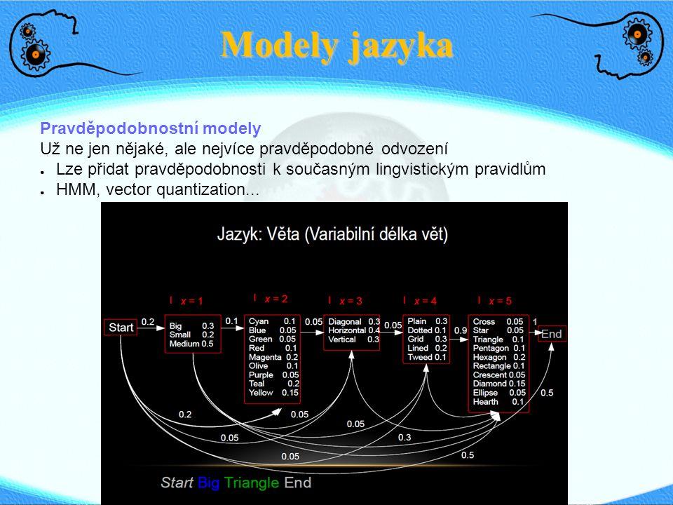Modely jazyka Pravděpodobnostní modely Už ne jen nějaké, ale nejvíce pravděpodobné odvození ● Lze přidat pravděpodobnosti k současným lingvistickým pr
