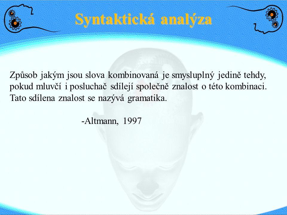 Syntaktická analýza Způsob jakým jsou slova kombinovaná je smysluplný jedině tehdy, pokud mluvčí i posluchač sdílejí společně znalost o této kombinaci