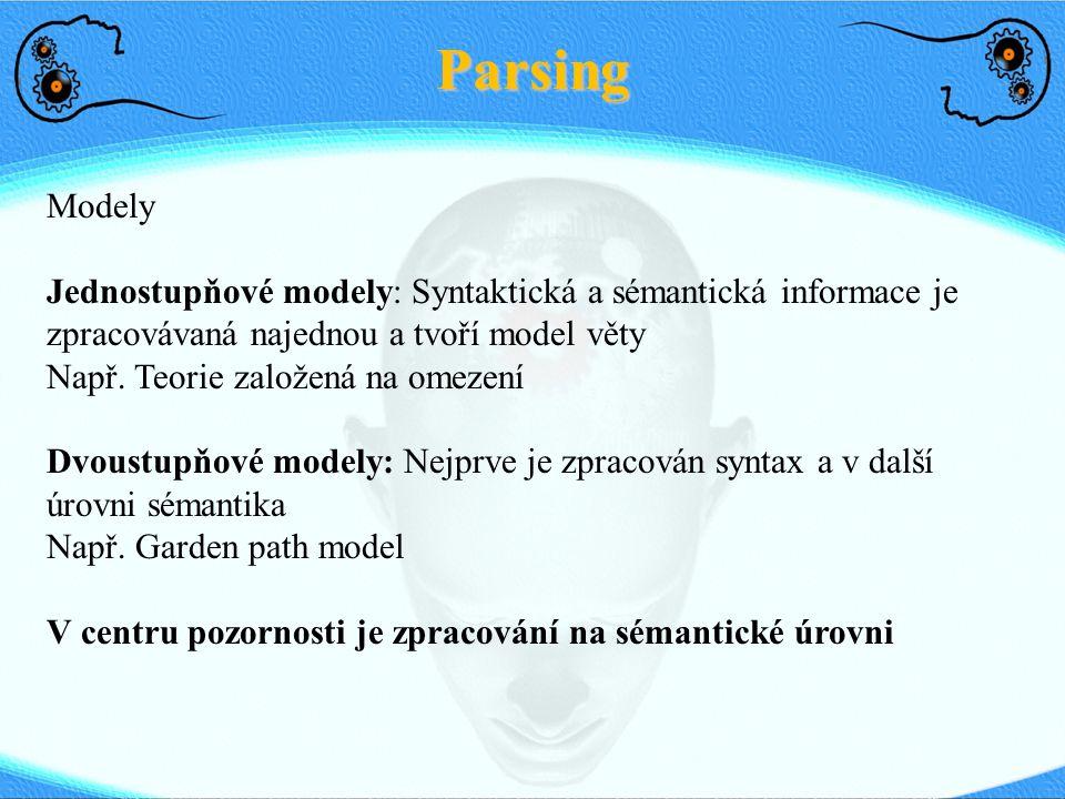 Parsing Modely Jednostupňové modely: Syntaktická a sémantická informace je zpracovávaná najednou a tvoří model věty Např. Teorie založená na omezení D