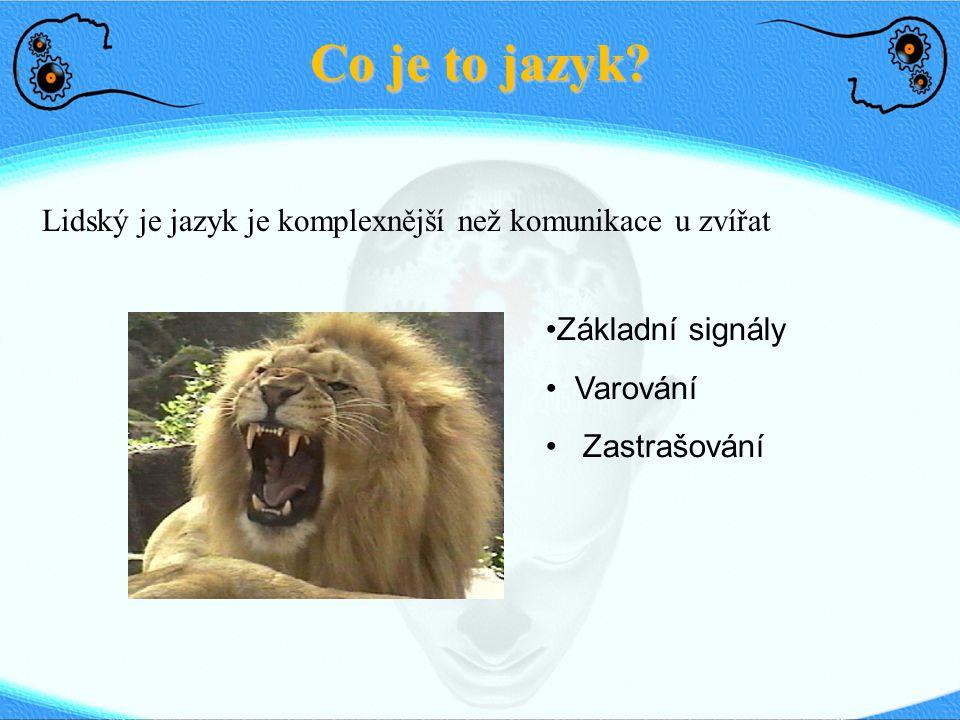 Co je to jazyk? Lidský je jazyk je komplexnější než komunikace u zvířat Základní signály Varování Zastrašování