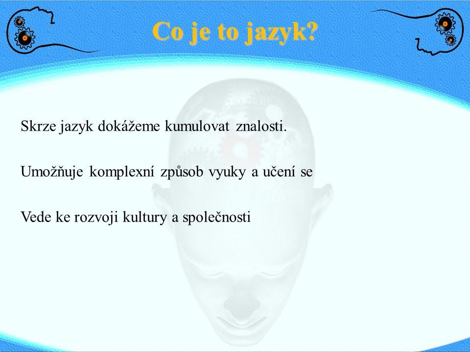 Co je to jazyk? Skrze jazyk dokážeme kumulovat znalosti. Umožňuje komplexní způsob vyuky a učení se Vede ke rozvoji kultury a společnosti
