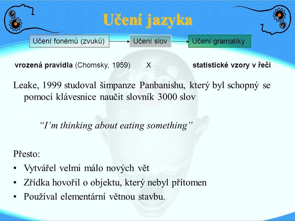 Učení jazyka Učení fonémů (zvuků)Učení slovUčení gramatiky vrozená pravidla (Chomsky, 1959) statistické vzory v řečiX Leake, 1999 studoval šimpanze Pa