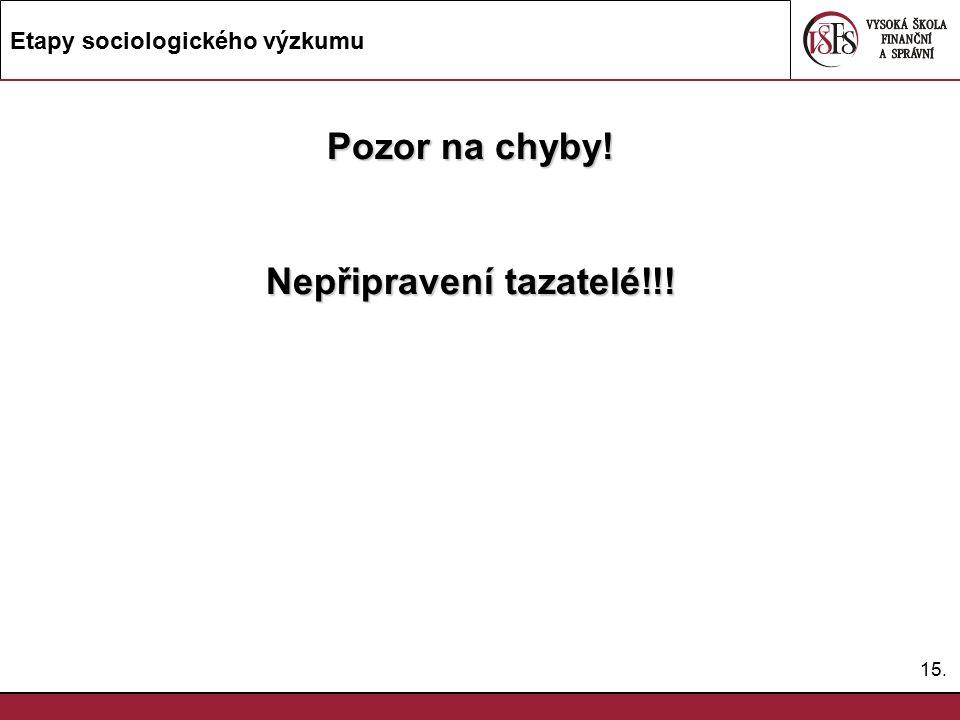 15. Etapy sociologického výzkumu Pozor na chyby! Nepřipravení tazatelé!!!