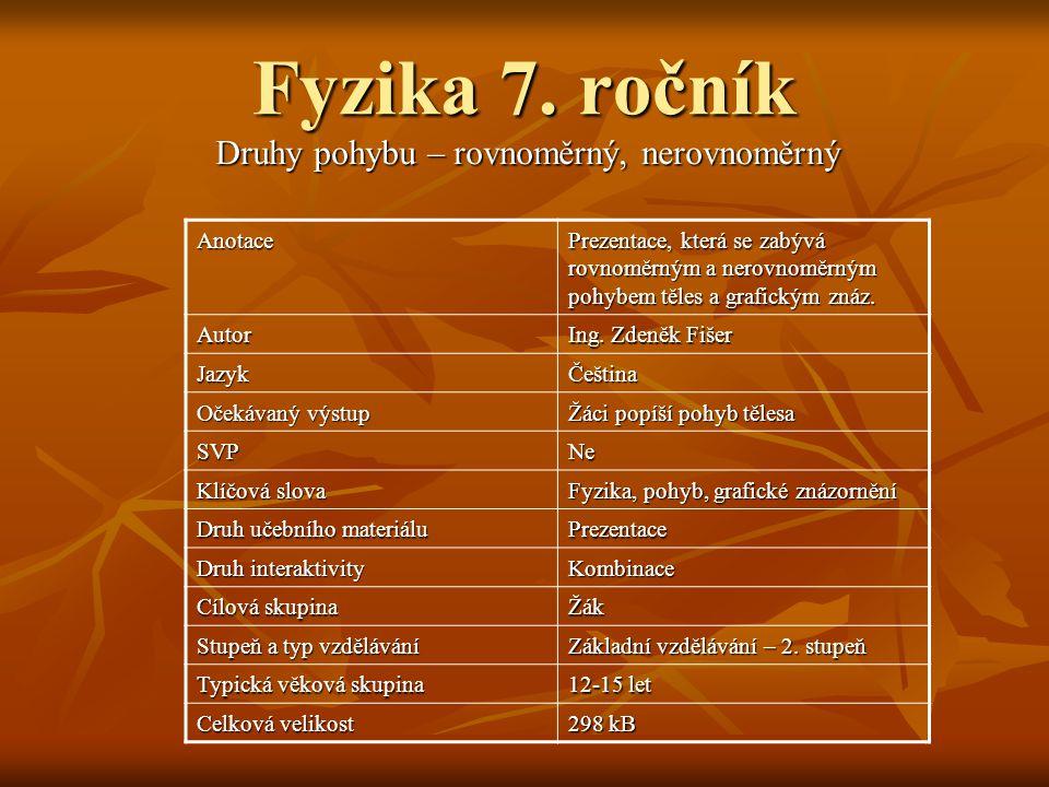 Fyzika 7. ročník Druhy pohybu – rovnoměrný, nerovnoměrný Anotace Prezentace, která se zabývá rovnoměrným a nerovnoměrným pohybem těles a grafickým zná